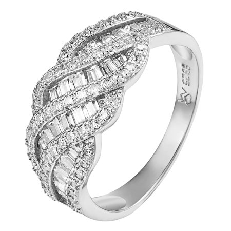 Womens Bridal Ring Simulated Diamonds 925 Sterling Silver Engagement Wedding New