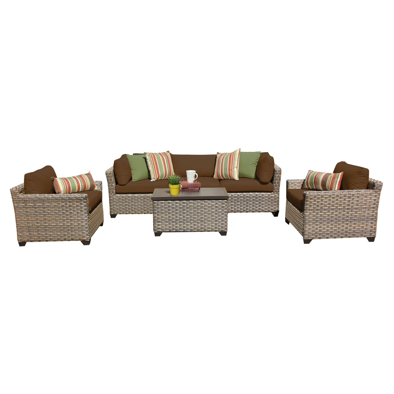 TK Classics Monterey Wicker 6 Piece Patio Conversation Set with Club Chair and 2 Sets of... by Delacora