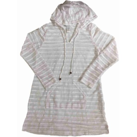 Womens White Mesh Hoodie Swim Suit Cover Up Kangaroo Pouch Dress Cover-Up