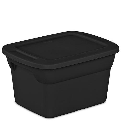 Sterilite 5-Gallon (20-Quart) Storage Box, Black, Set of 12