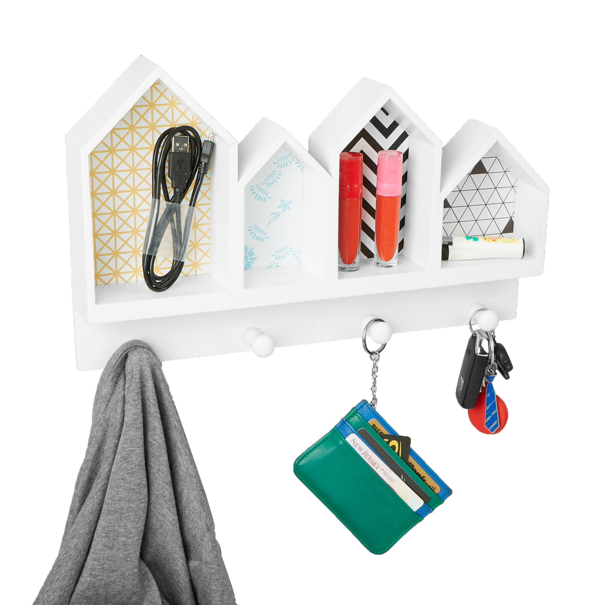 Mind Reader Door or Wall Mount Coat and Key Rack with 4 Storage Compartments, White by EMS Mind Reader LLC