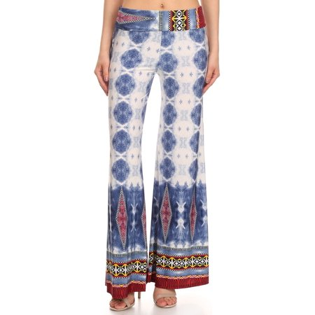 Women's PLUS  trendy boder print ,  full length flare pants.