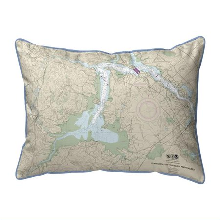 Betsy Drake HJ13285GB 16 x 20 in. Portsmouth to Dover & Exeter - Great Bay, NH Nautical Map Large Corded Indoor & Outdoor Pillow Great Outdoors Bay