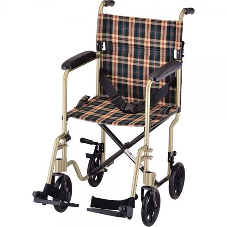 Nova Medical Products 19  Lightweight Transport Wheelchair  Champaign Plaid