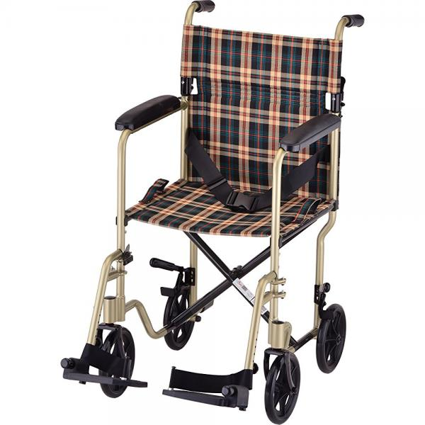 """NOVA Medical Products 19"""" Lightweight Transport/Wheelchair, Champaign Plaid"""