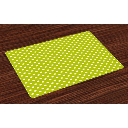 Retro Placemats Set of 4 Vintage Old Fashioned 60s 70s Inspired Polka Dots Pop Art Style Art Print, Washable Fabric Place Mats for Dining Room Kitchen Table Decor,Lime Green and White, by Ambesonne