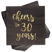 Blue Panda 100-Pack Gold Foil Paper Cocktail Napkins with Cheers to 30 Years! for Birthday and Anniversary Party Supplies, 5 x 5 Inches, Black