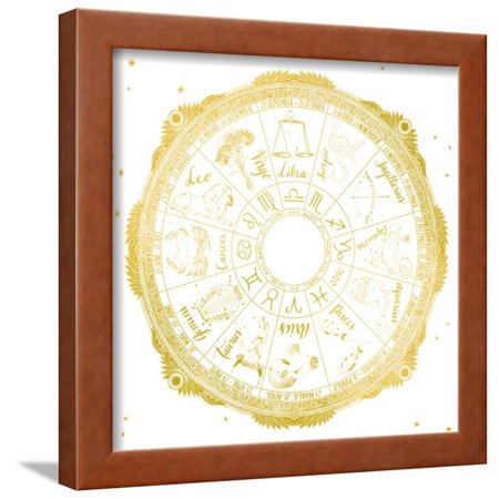 Night Sky Zodiac White and Gold Framed Print Wall Art By Sara Zieve ...