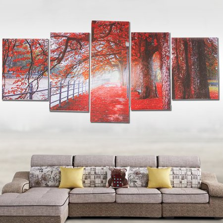 - 5Pcs Modern Abstract Wall Art Canvas Red Maple Tree Leaves Oil Painting Picture Print Decor NO FRAME