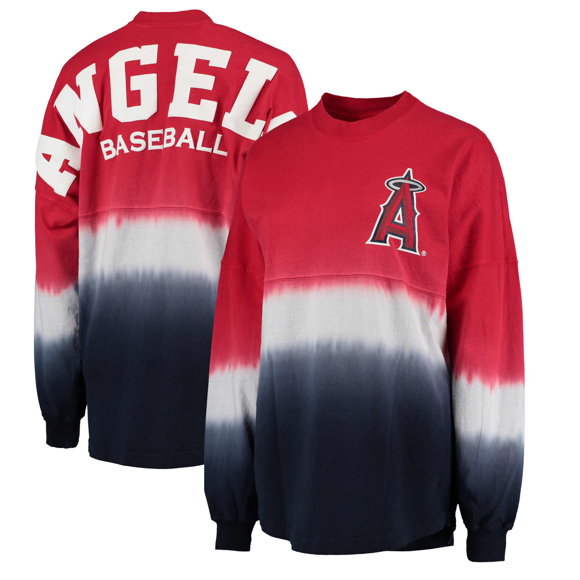 Los Angeles Angels Women's Oversized Long Sleeve Ombre Spirit Jersey T-Shirt - Red