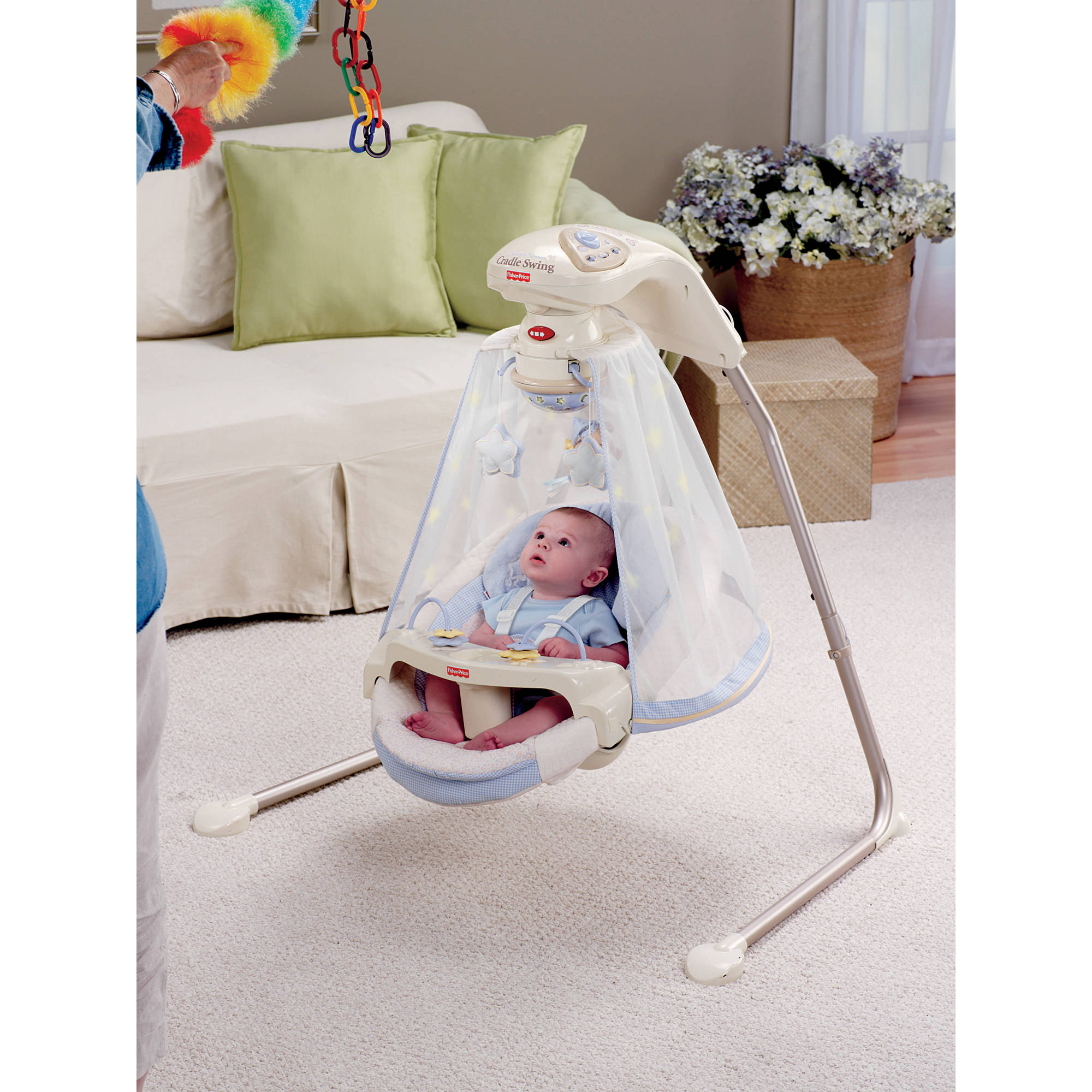 Fisher-Price - Starlight Papasan Cradle Swing, Periwinkle