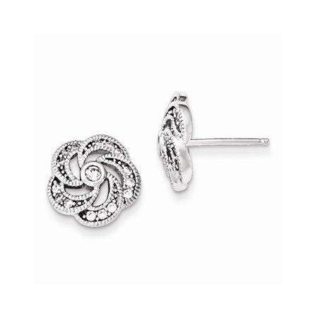 (925 Sterling Silver Polished Cubic Zirconia Flower Children's Post Earrings (11mm x 11mm))
