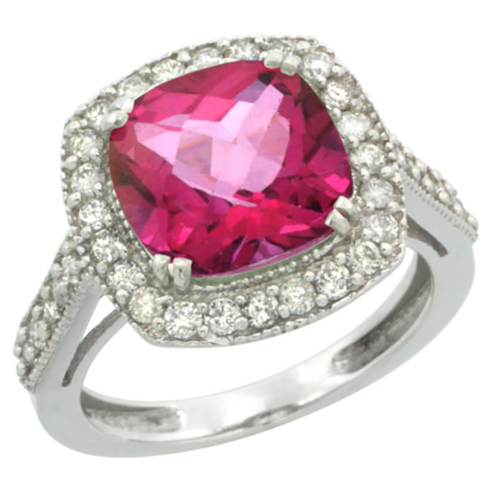 14K White Gold Natural Pink Topaz Ring Cushion-cut 9x9mm Diamond Halo, size 5 by Gabriella Gold
