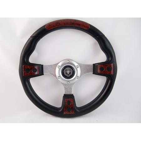 1984+ CLUB CAR DS BURL WOOD steering wheel golf cart WITH Adapter 3 spoke