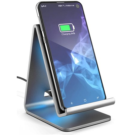 Wireless Charger Stand, Galvanox Aluminum Qi Power Station (QC3.0) Adaptive Fast Charging, Works with All Samsung Galaxy S10