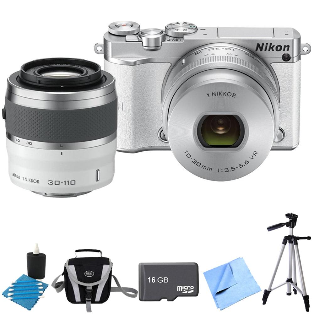 Nikon 1 J5 Digital Camera w/ NIKKOR 10-30mm Zoom & NIKKOR 30-110mm Lens White Bundle