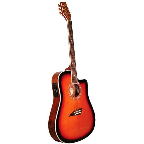 Kona Thin-Body Acoustic Electric Guitar, Spruce with Tobacco Sunburst Finish by Kona Guitars