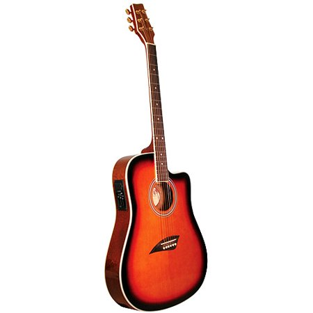 Kona Thin-Body Acoustic/Electric Guitar, Spruce with Tobacco Sunburst Finish
