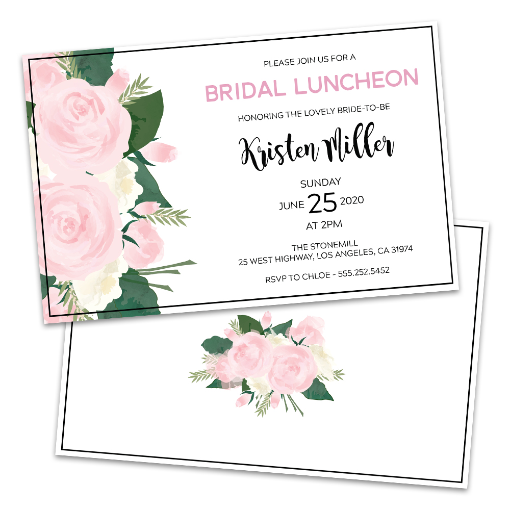Personalized Rose Floral Bridal Luncheon Invitations