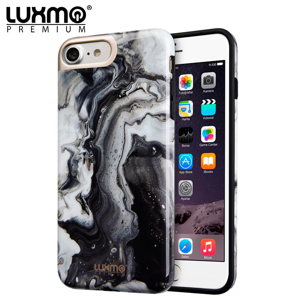 Luxmo Premium Phone Case for iPhone 8/iPhone 7 MarbleShine Design Uv Coated Tpu Case - Black Swirl Marble
