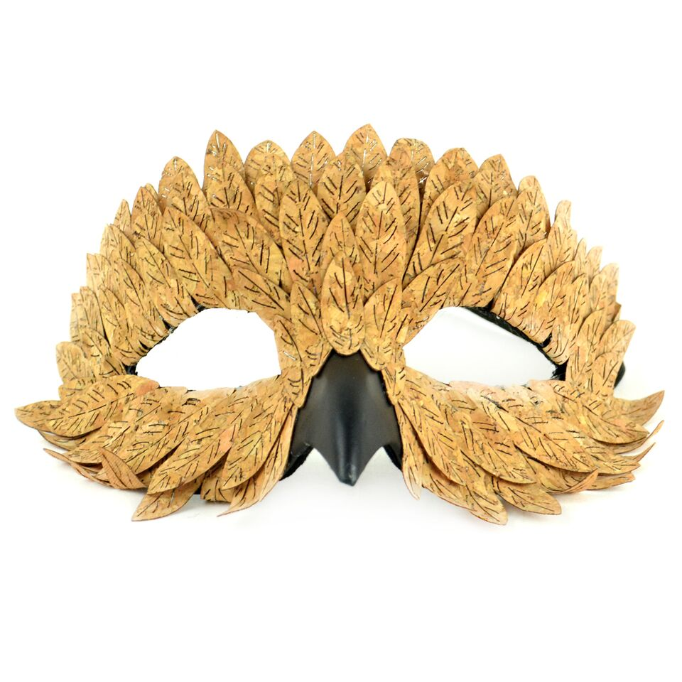 "9"" Brown and Black Party Favor Fancy Leaf Owl Mask"
