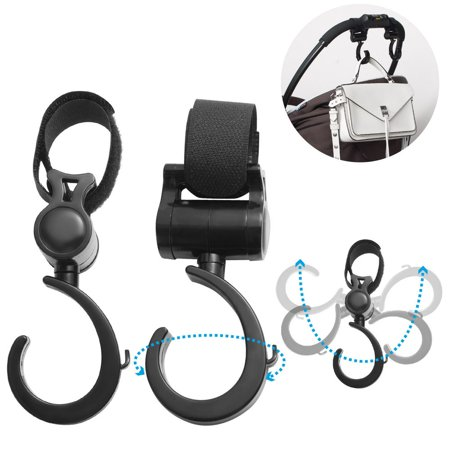 Insten Baby Stroller Hook Accessories for Handbag Shopping Groceries Diapers Bag Pram Pushchair - Black