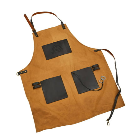 Pit Boss BBQ Canvas & Leather Grilling Apron w/ Embossed Pockets and Bottle