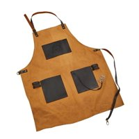 Pit Boss Canvas & Leather Grilling Apron with Pockets and Bottle Opener