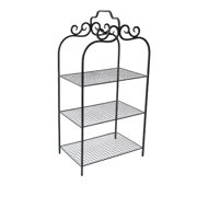 3-Tiered Metal Rack with Wire Mesh Shelves