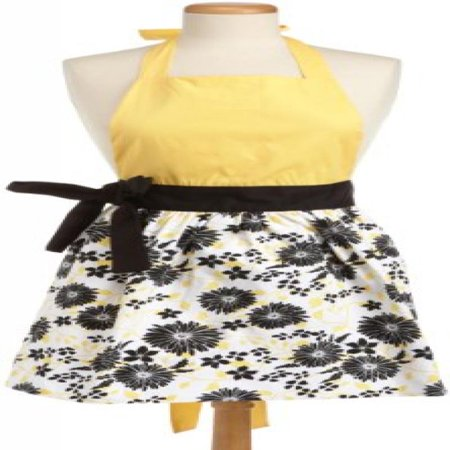 DII 100% Cotton, Trendy & Fashion Daisy Skirt Kitchen Women Apron, Adjustable Neck & Waist Ties, Machine Washable, Embroidery Area avaliable, Perfect for Cooking, Baking, Crafting- Light Yellow/Black