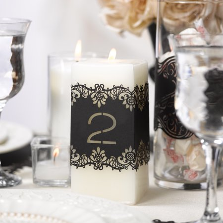 Black Laser Cut Table Number Wraps 1-10
