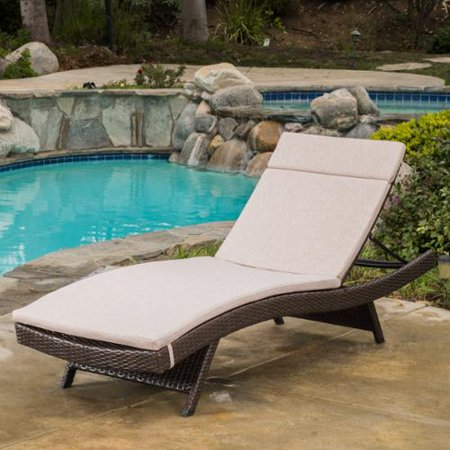Sydney Outdoor Brown Wicker Adjustable Chaise Lounge With Textured Beige Colored Cushions ()