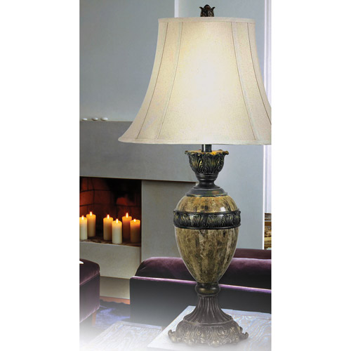 Kenroy Home Baroness Table Lamp, Bronze with Marble Accents