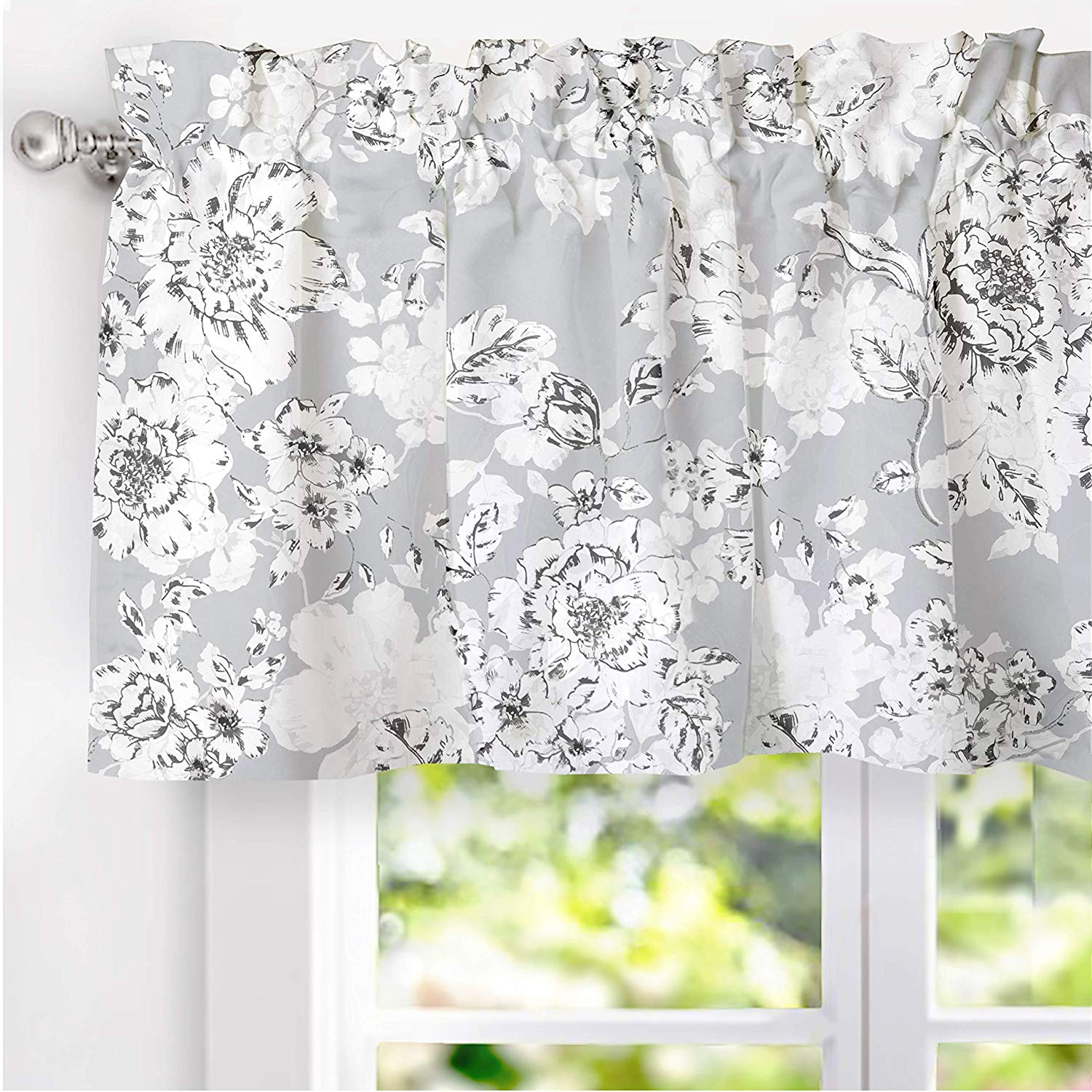 DriftAway Flower/Floral Pencil Sketch Lined Thermal Insulated Energy Saving  Window Curtain Valance for Living Room Bedroom Kitchen, 2 Layer, Rod ...