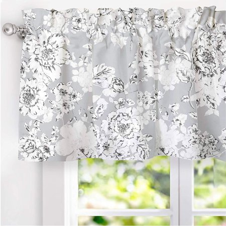 DriftAway Flower/Floral Pencil Sketch Lined Thermal Insulated Energy Saving Window Curtain Valance for Living Room Bedroom Kitchen, 2 Layer, Rod Pocket, 52