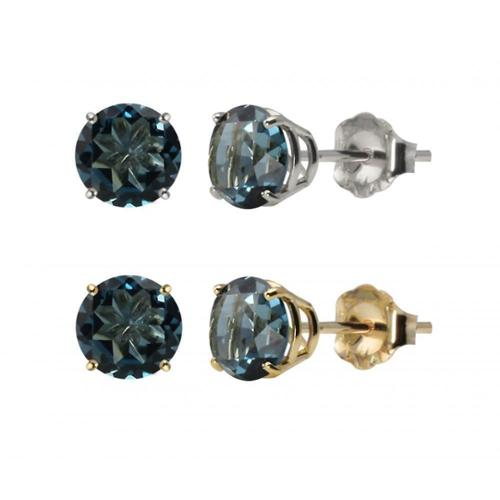 10k White or Yellow Gold 6mm Round London Blue Topaz Stud Earrings Yellow Gold
