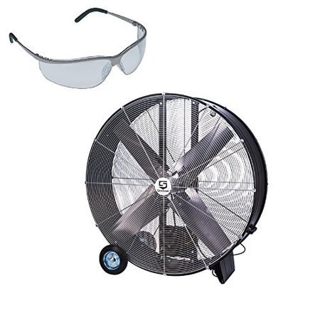 set of sport safety glasses and strongway open motor 48 inch
