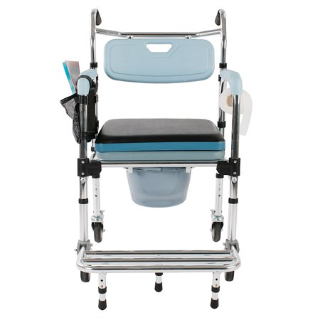 UBesGoo Portable 4-in-1 Bedside Commode Toilet Safety Bathroom Shower Seat Bath chair Wheelchair