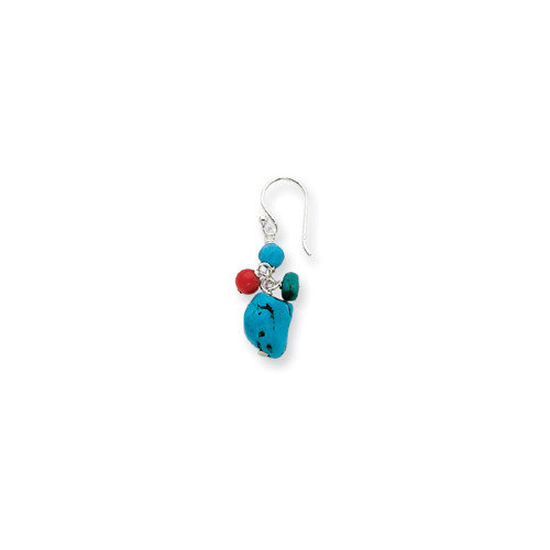 Jewelryweb Sterling Silver Howlite Turquoise Red Coral Earrings