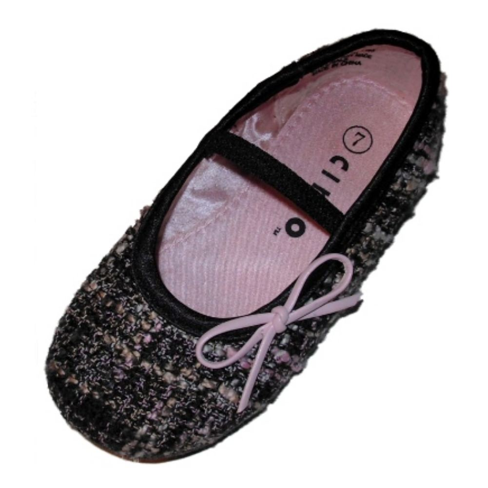 Circo Infant Girls Black Tweed Dress Shoes Ballet Flats Mary Janes