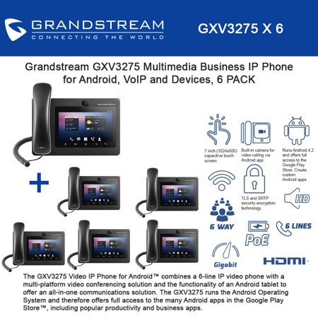 Grandstream GXV3275 6-UNITS, 6 lines Multimedia IP Phone, VoIP and Devices