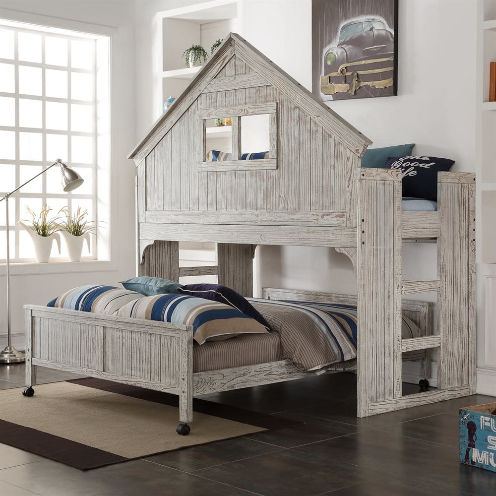 Donco Kids Driftwood Club-House Low Loft Bed & Caster Bed