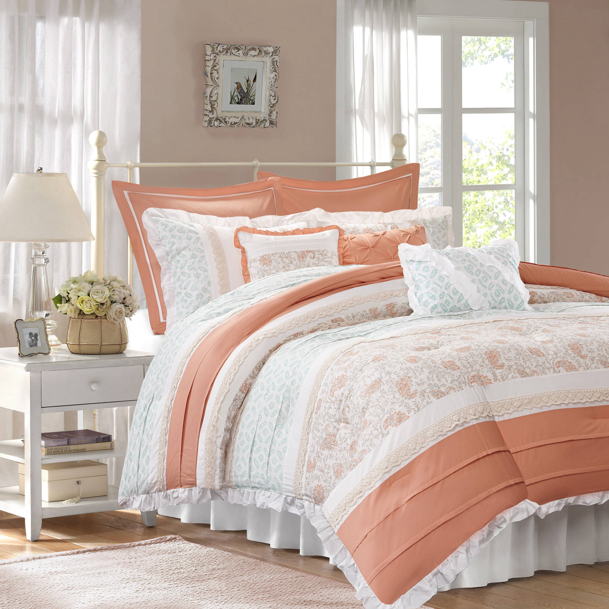 Home Essence Stella 9-Piece Cotton Percale Bedding Comforter Set