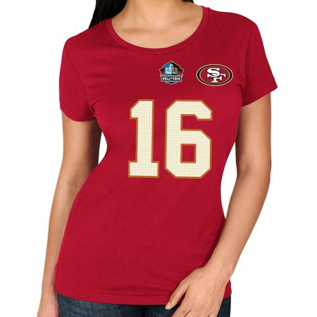 Joe Montana San Francisco 49Ers Womens Majestic Nfl  Hof Fair Catch  T Shirt