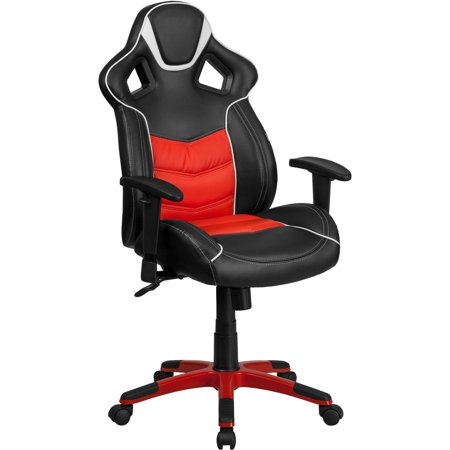 High Back Storm Gray Executive Gaming-Racing Swivel Chair with Comfort Coil  Seat Springs and Gray Base