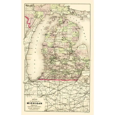 Upper Pennisula Michigan Map.Old State Map Michigan With Portion Of Upper Peninsula 1873 23 X 36