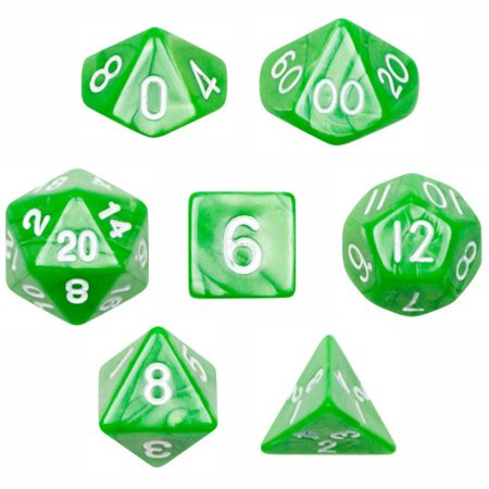 7 Die Polyhedral Dice Set - Imperial Gem (Marble Green) with Velvet Pouch By, Seven pack of Imperial Gem (marble green) polyhedral dice by Wiz Dice By Wiz Dice