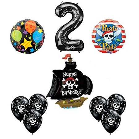Black Pirate Ship 2nd Birthday Party Supplies and Balloon - Party City Pirates