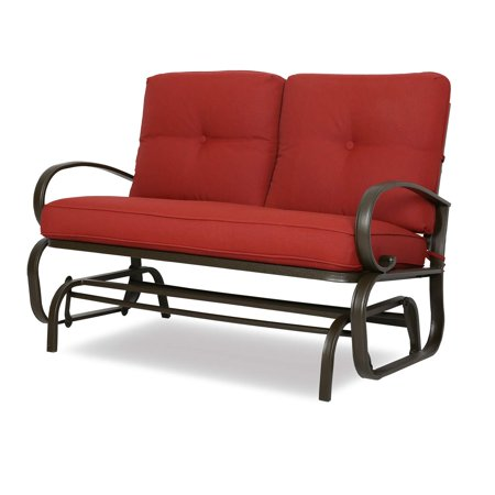 Patio Glider Bench Loveseat Outdoor Cushioed 2 Person Rocking Seating Patio Swing Chair, Brick Red ()