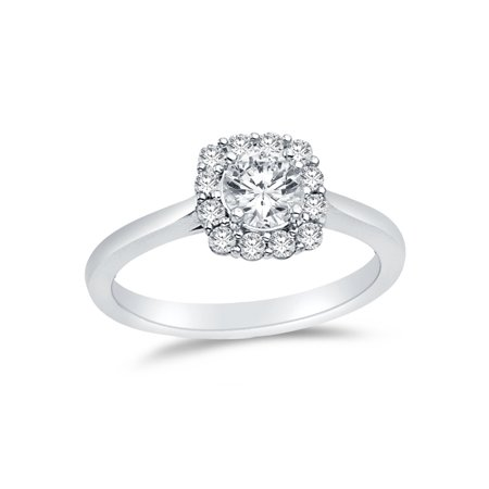 Solid 14k White Gold Round Cut Halo Wedding Engagement Ring, CZ Cubic Zirconia (1 ct.) , Size 8.5